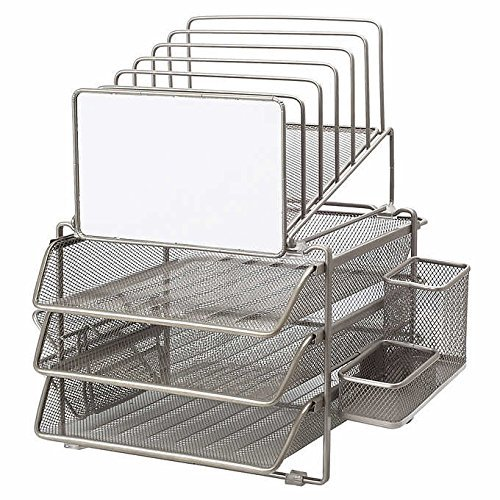 Sunrising International Stainless Steel Modular Office Desk File Sorter And Organizer With Whiteboard Features 6 Tiered Wire Holders 2 Sliding Trays