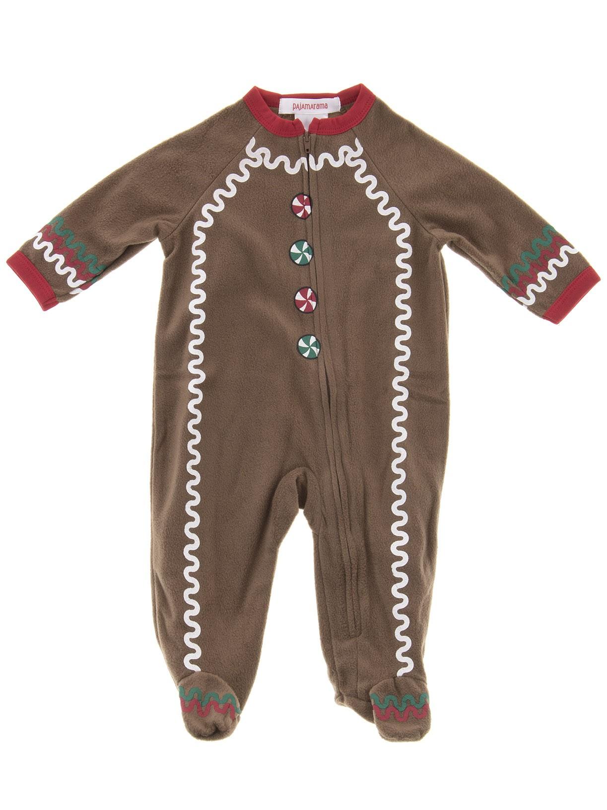 Pajamarama Boys Christmas Gingerbread Man Footed Pajamas