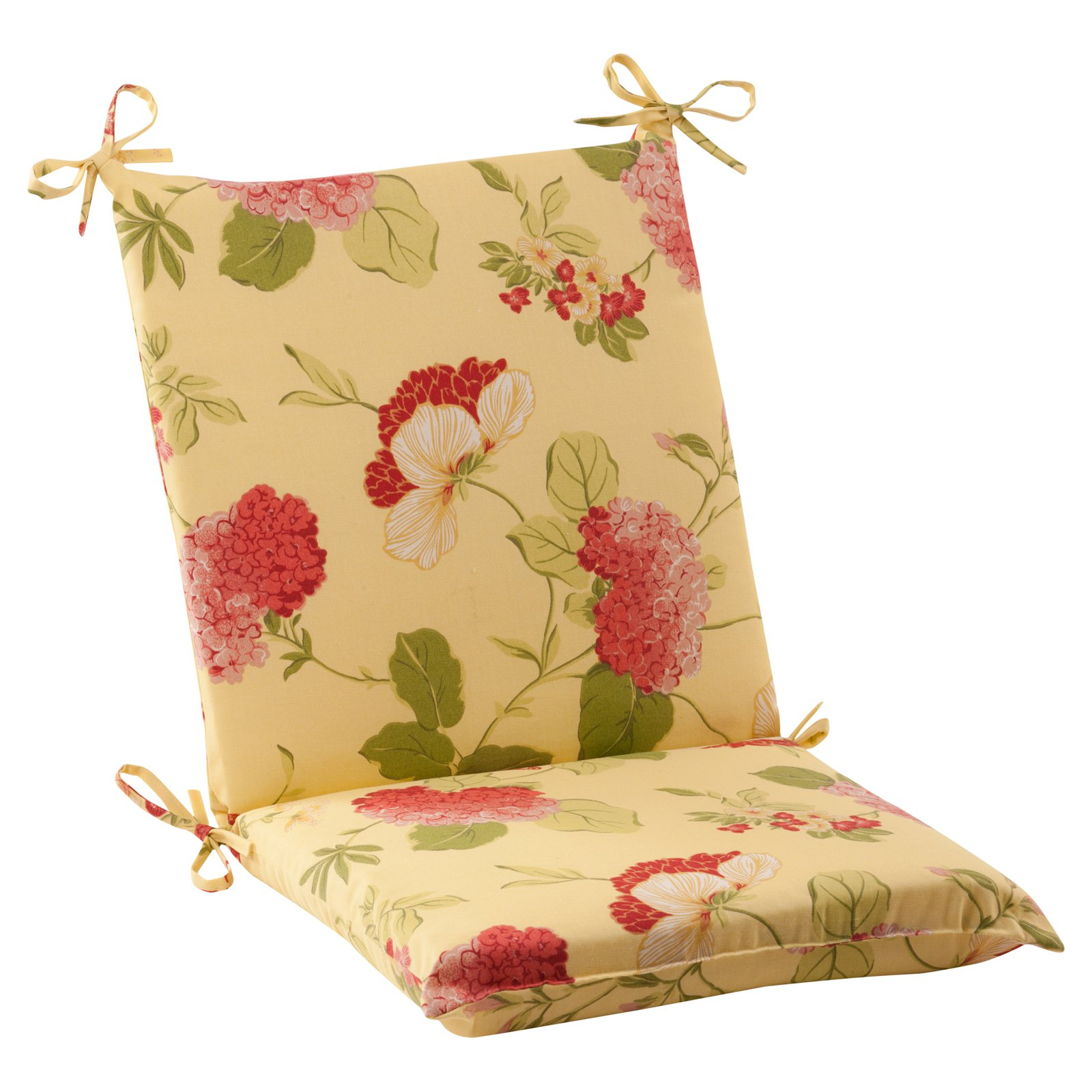 Pillow Perfect Risa Lemonade Squared Corners Hinged Chair Cushion Walmart Com Walmart Com