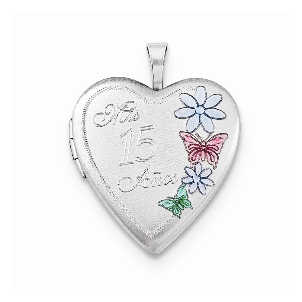 925 Sterling Silver 20mm Enameled Mis 15 Anos Heart Locket