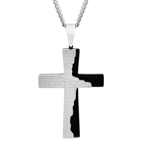 Black Vermeil Pendant - Steel Nation Jewelry Men's Black/Gray Stainless Steel Tablet Prayer Cross Pendant w/Curb Chain