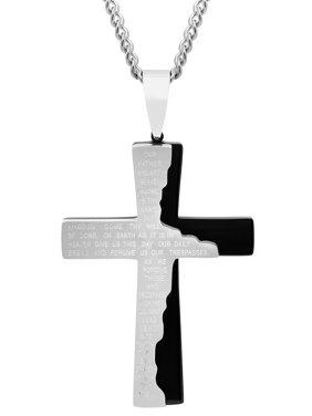Men's Stainless Steel Gold-Tone Tablet Prayer Cross Pendant Necklace Chain