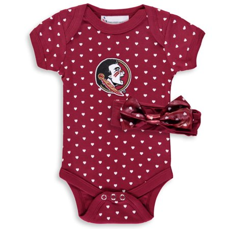 Florida State Seminoles Girls Newborn & Infant Hearts Bodysuit and Headband Set - -