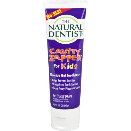 Natural Dentist Cavity Zapper Fluoride Toothpaste, Not Yucky Grape, 5 Oz Tube