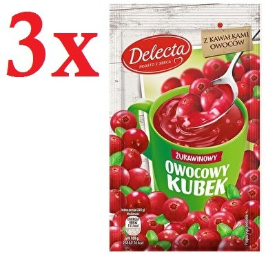 Delecta Owocowy Kubek Zurawinowy Instant Cranberry Soft Jelly (3-Pack)