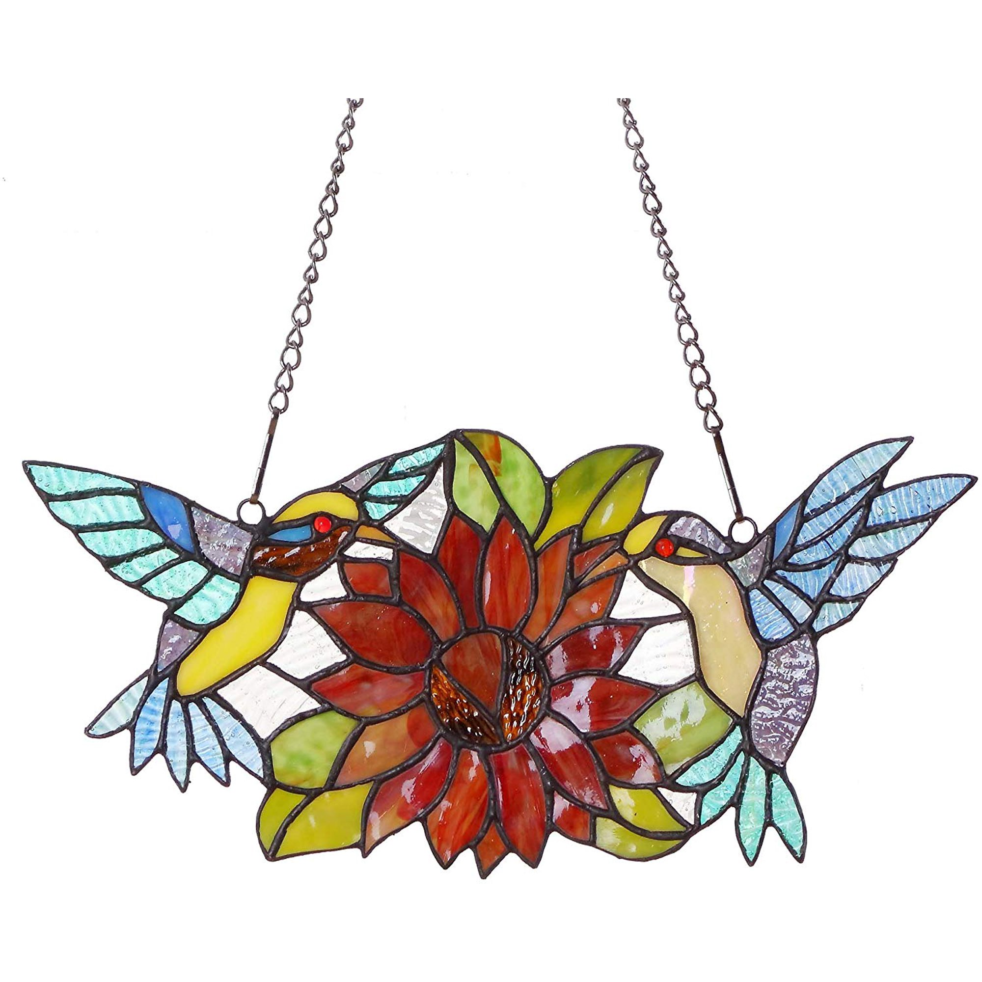 Bieye W10006 Hummingbirds Flower Tiffany Style Stained Glass Window Hangings Panel With Chain 15 W X 7 H Walmart Canada