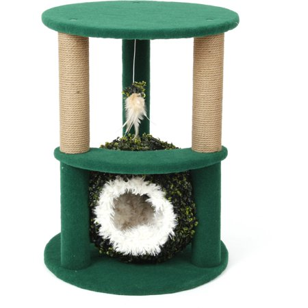 Cat Craft Two-Level Tree Bed with Grass Ball, White, 27