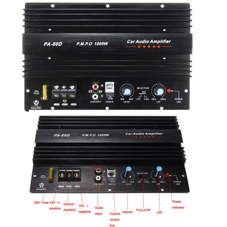 12V 1000W Mono Car Audio Power Amplifier Powerful Bass Board Subwoofers Amp US