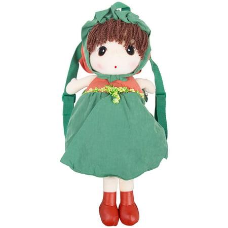 GOODSMANN Baby Kids Plush Cute Cartoon Girl Lovely Doll Backpack. Zipper Satchel Carrying Snacks Books Daypack/Travel Bag for Boys Girls Toddler Preschool Kids (Green) 9922-1012-04