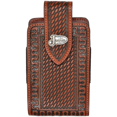 outlet store 4b335 8099f Justin Western Cell Phone Case Leather Tooled Smartphone Tan JBPH051