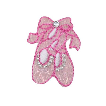 Billet Iron (Small - Pink Ballet Shoes/Slippers - Iron On Applique/Embroidered Patch )