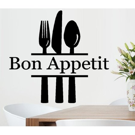 Decal ~ BON APPETIT FORK KNIFE SPOON #2 ~ WALL DECAL, HOME DECOR 22
