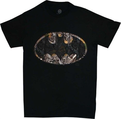 Batman Woodland Camo Logo Men's Black T-Shirt, XXX-Large