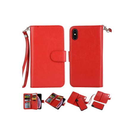 2 in 1 Leather Wallet Case with 9 Credit Card Slots and Removable Back Cover for iPhone Xs Max(6.5