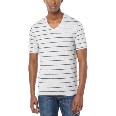 Perry Ellis Mens Wide Stripe V Graphic T-Shirt Orange White Striped Shirt