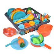 Deluxe Kitchen - Pretend Play Accessory Toy Set (71 Pieces Including Pots & Pans & Play Food) F-457