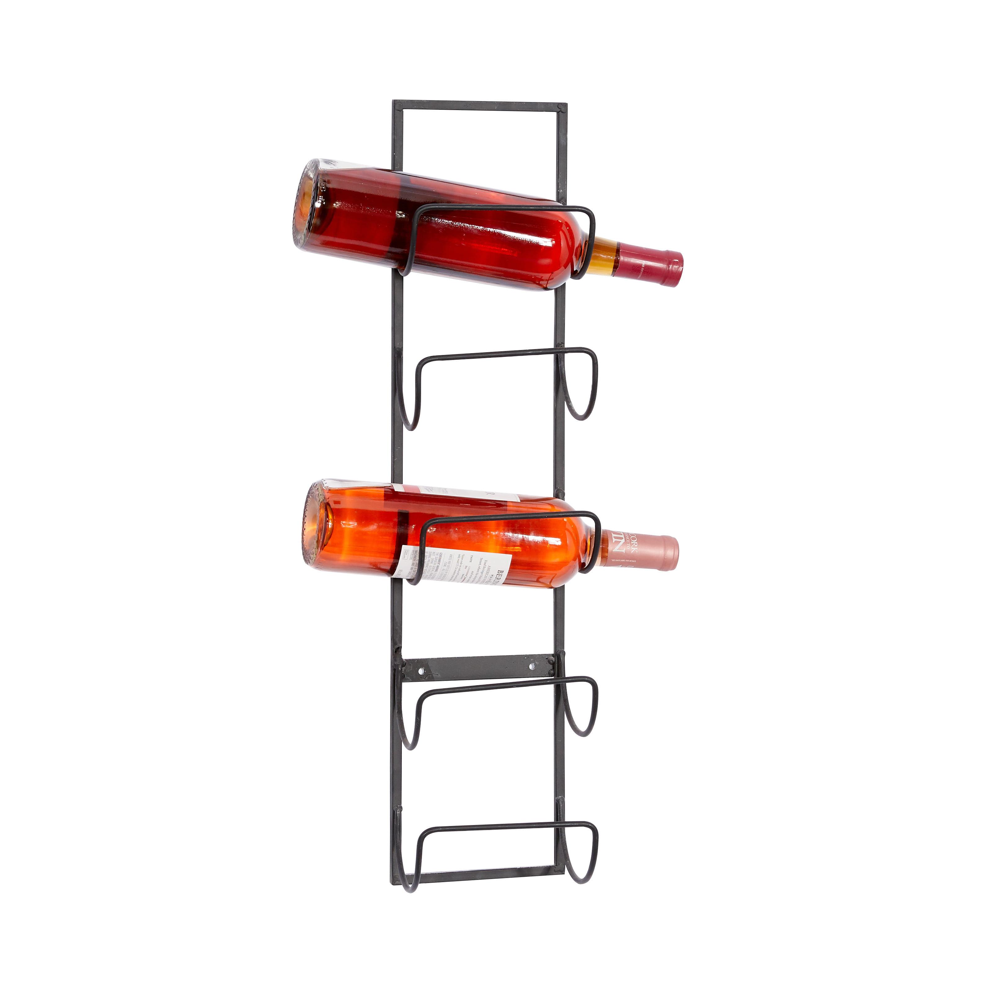 Decmode Wall Mounted Wine Rack Metal Wine Rack 6 X 5 X 25 Black Walmart Com Walmart Com