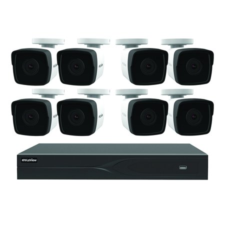 LaView 8 Channel 5MP Business and Home Security Cameras System 1TB HDD Surveillance DVR with 8 5MP Full Color Night Vision Bullet Cameras with Customizable and Durable Weatherproof Housing