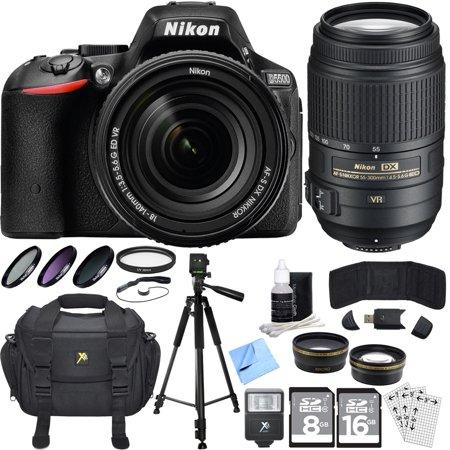 Nikon D5500 Black SLR Camera 18-140mm, 55-300 Lens, Lens Set, & Flash Bundle