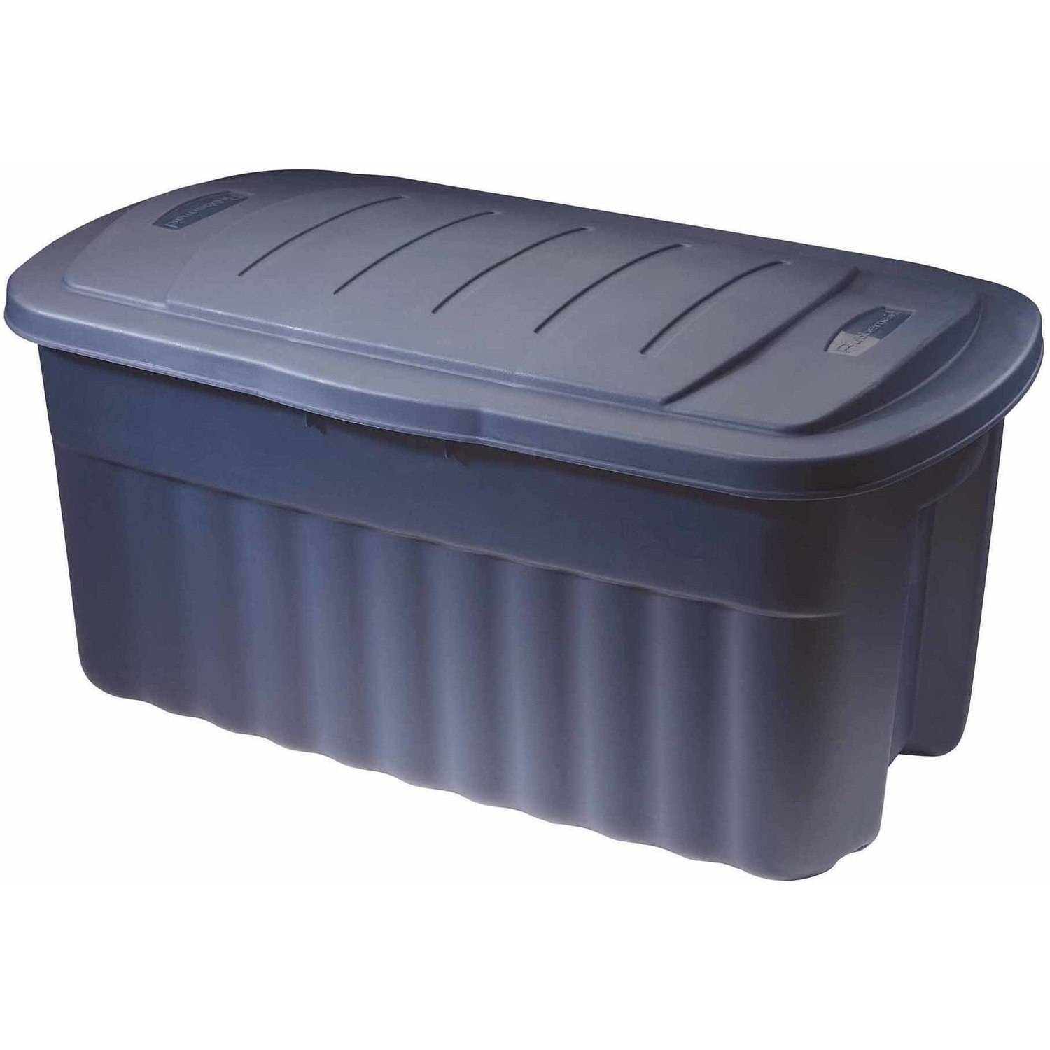 Rubbermaid Roughneck Jumbo Hinged Storage Box, 40 Gal, Dark Indigo Metallic