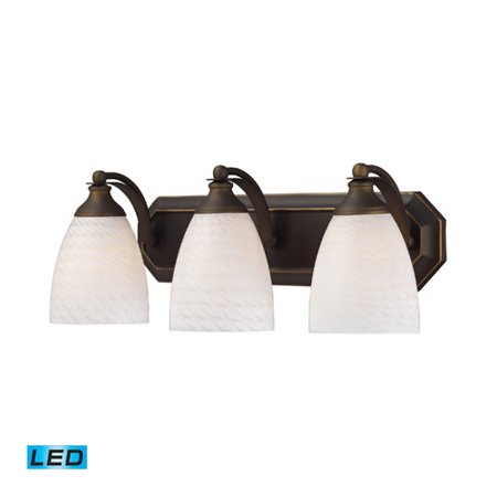 Bathroom Vanity 3 Light LED With Aged Bronze Finish White Swirl Glass 20 inch 40.5 Watts - World of Lamp