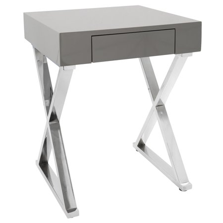 Luster Contemporary Side Table in Grey and Chrome by LumiSource