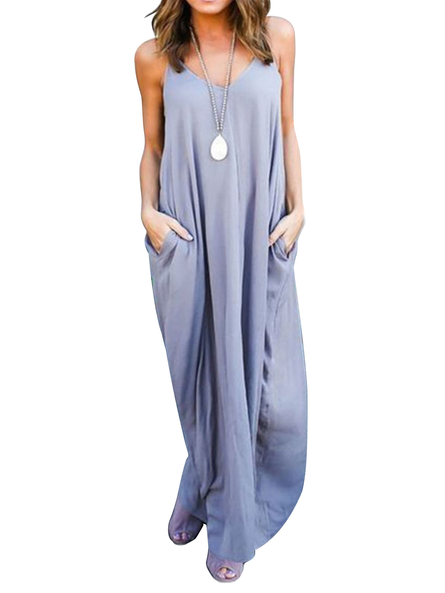 Dresses for Women Casual Summer Strappy V Neck Pocket Loose Maxi Long Beach