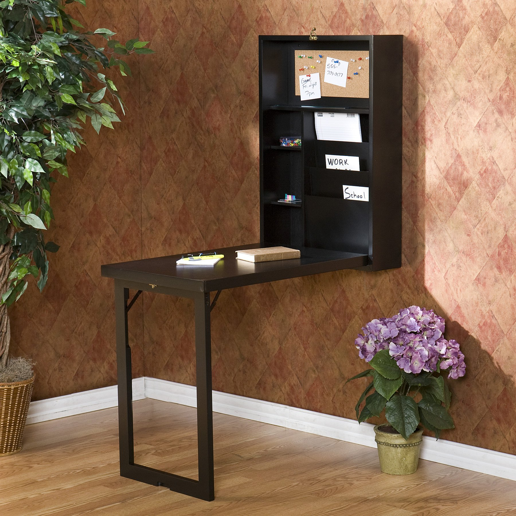 Southern Enterprises Wall Mounted Fold Out Convertible Desk - Black