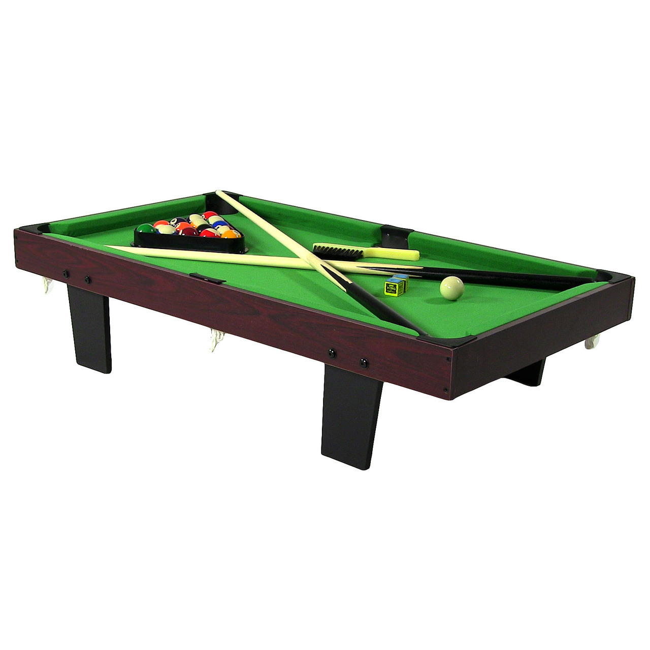 Sunnydaze 36 Inch Mini Tabletop Pool Table With Triangle, Balls, Cues, Chalk