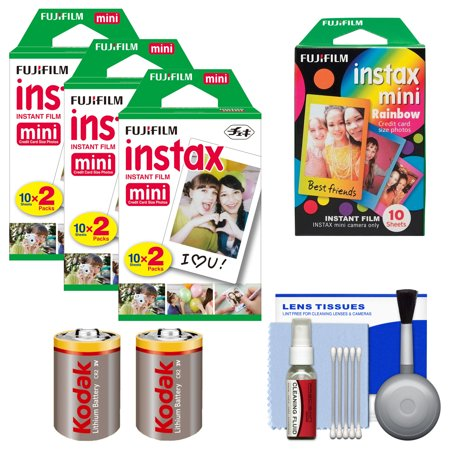 Essentials Bundle For Fujifilm Instax Share Sp 1 Instant Film Smartphone Printer  White  With 60 Twin Color   10 Rainbow Prints    2  Batteries Kit