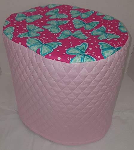 Teal & Pink Butterflies Food Processor Cover (Pink, Large)