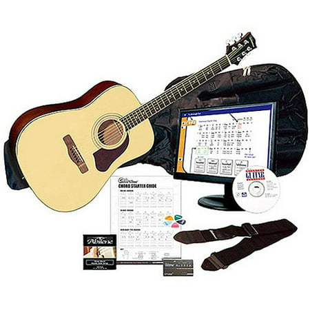 Silvertone SD3000 Natural Complete Acoustic Guitar Package with Instructional Software, Tuner, Gig Bag and