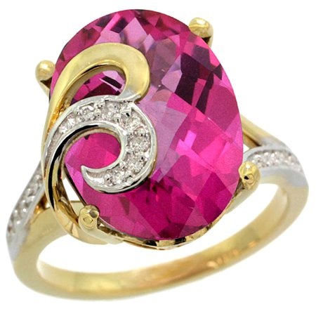 14k Gold Natural Pink Topaz Ring 16x12 mm Oval Shape Diamond Accent, 5/8 inch wide, size 5.5