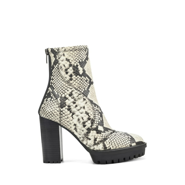 Vince Camuto Erettie Lug Sole Platform Booties Black White Snake Boots