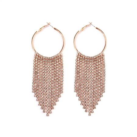 - Women's Waterfall Chandelier Hoop Earrings - Rhinestone Tassel Dangle Earrings
