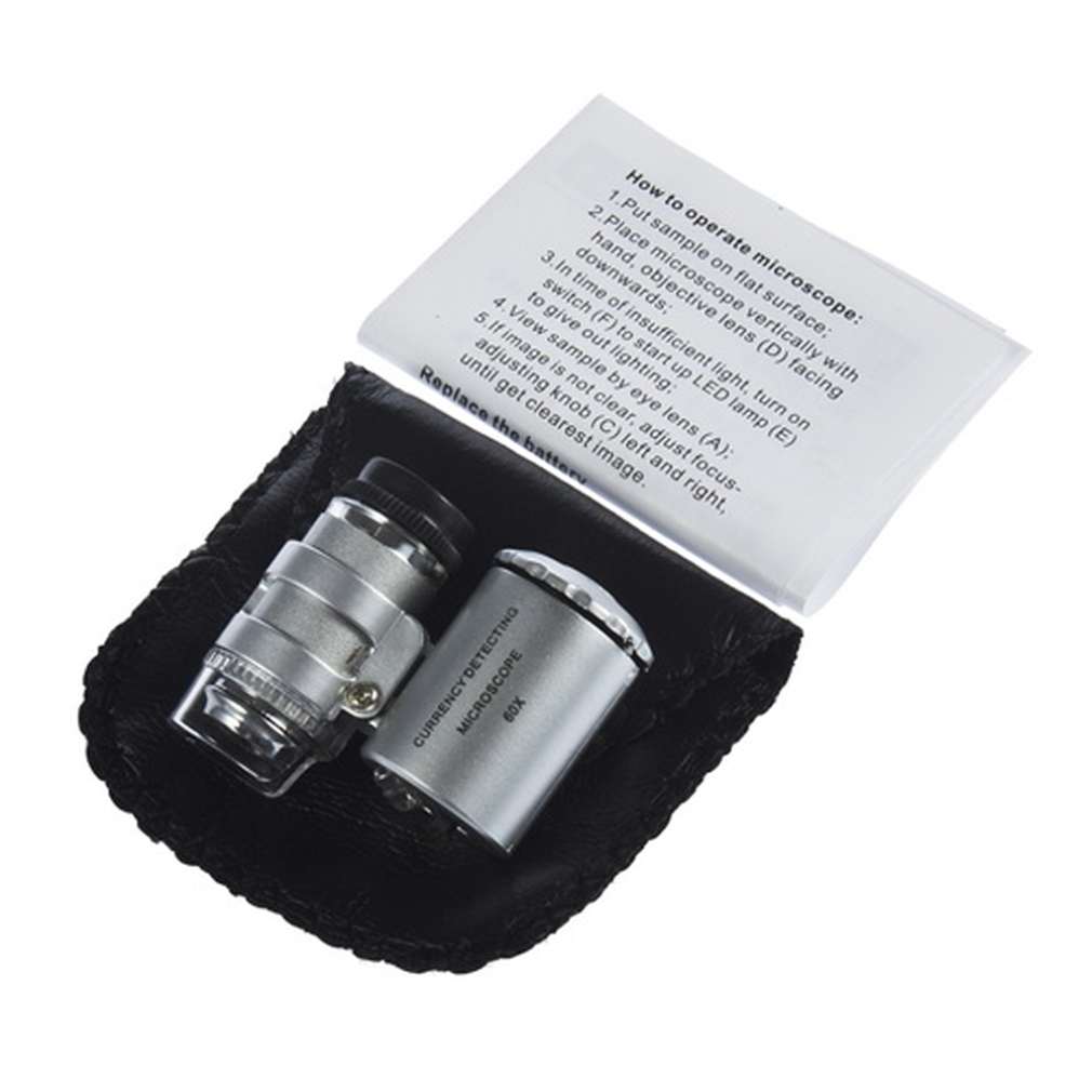 60X Zoom LED Microscope Micro Lens New Silver Handheld Monocular Microscope by
