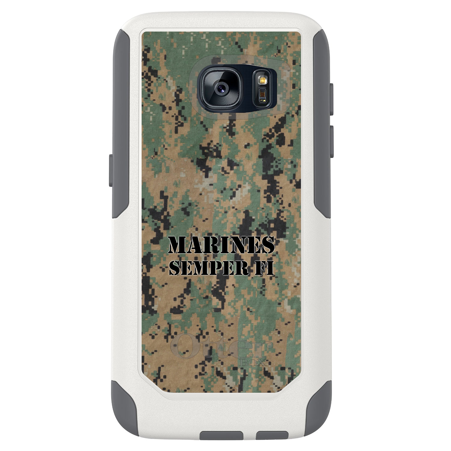 DistinctInk™ Custom White OtterBox Commuter Series Case for Samsung Galaxy S7 - Camo Marines Semper Fi