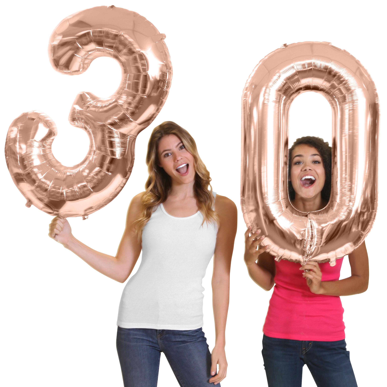 "Giant 34"" Tall Metallic Rose Gold ""30"" Balloons - 30th Birthday Decorations, thirtieth Birthday Supplies"