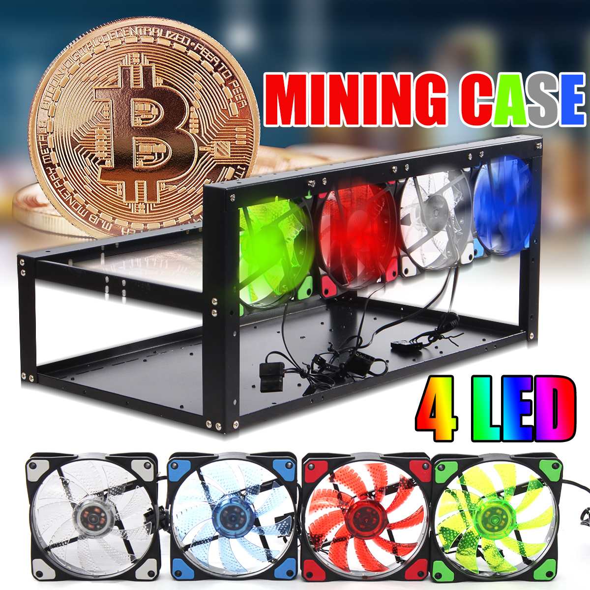 6 GPU 4 Color Fan Steel Coin Open Air Mining Frame Rig Case For BTC ETH Ethereum