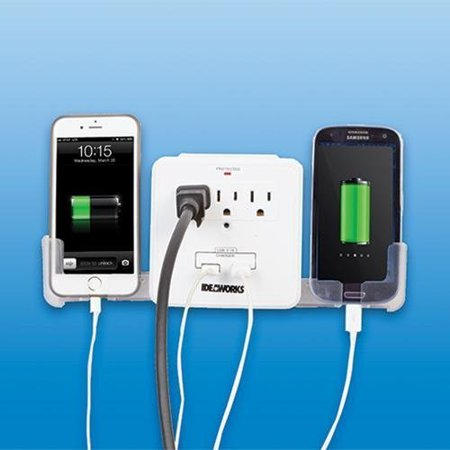 USB Outlet Multiplier, Cradles 2 phones or devices as they charge By GetSet2Save From USA (Outlets Online Usa)