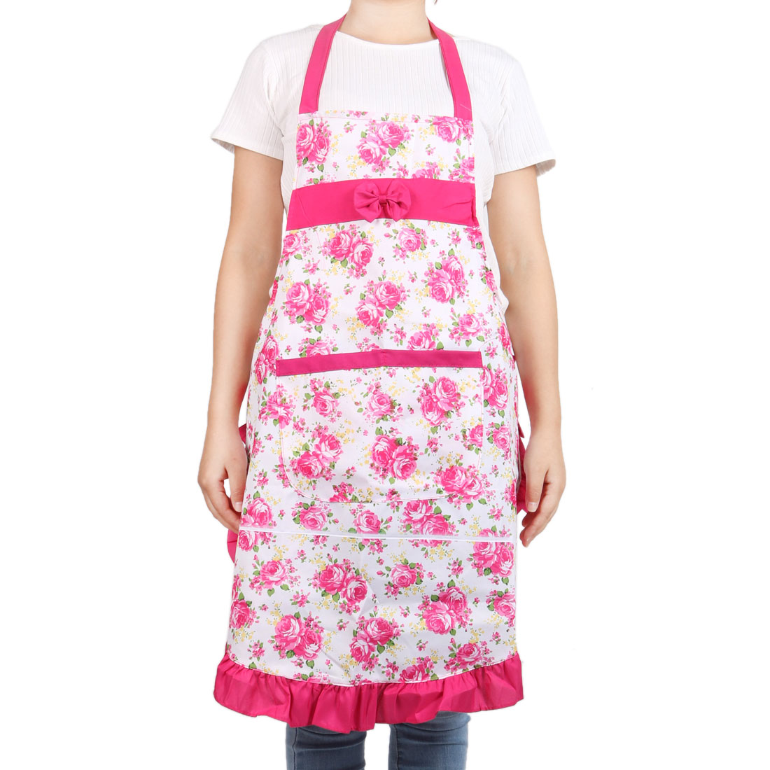Fruit Coffee Shop Woman Flowers Pattern Halter Neck Pocket Apron Bib Fuchsia by Unique-Bargains