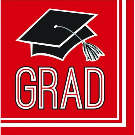 Creative Converting Graduation School Spirit Red Beverage Napkins, 36 ct - Graduation Napkins