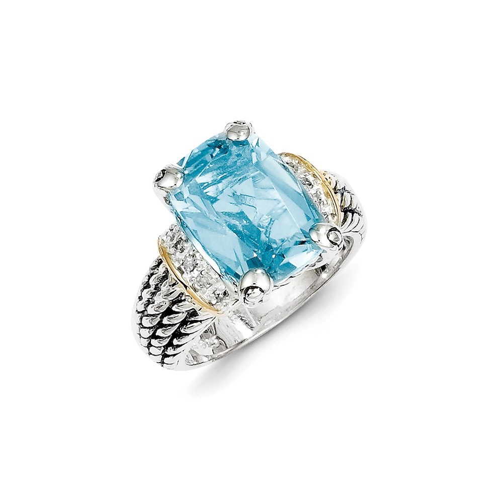Sterling Silver With 14k 8.10Sky Blue Topaz Ring Ring Size: 6 to 8 by