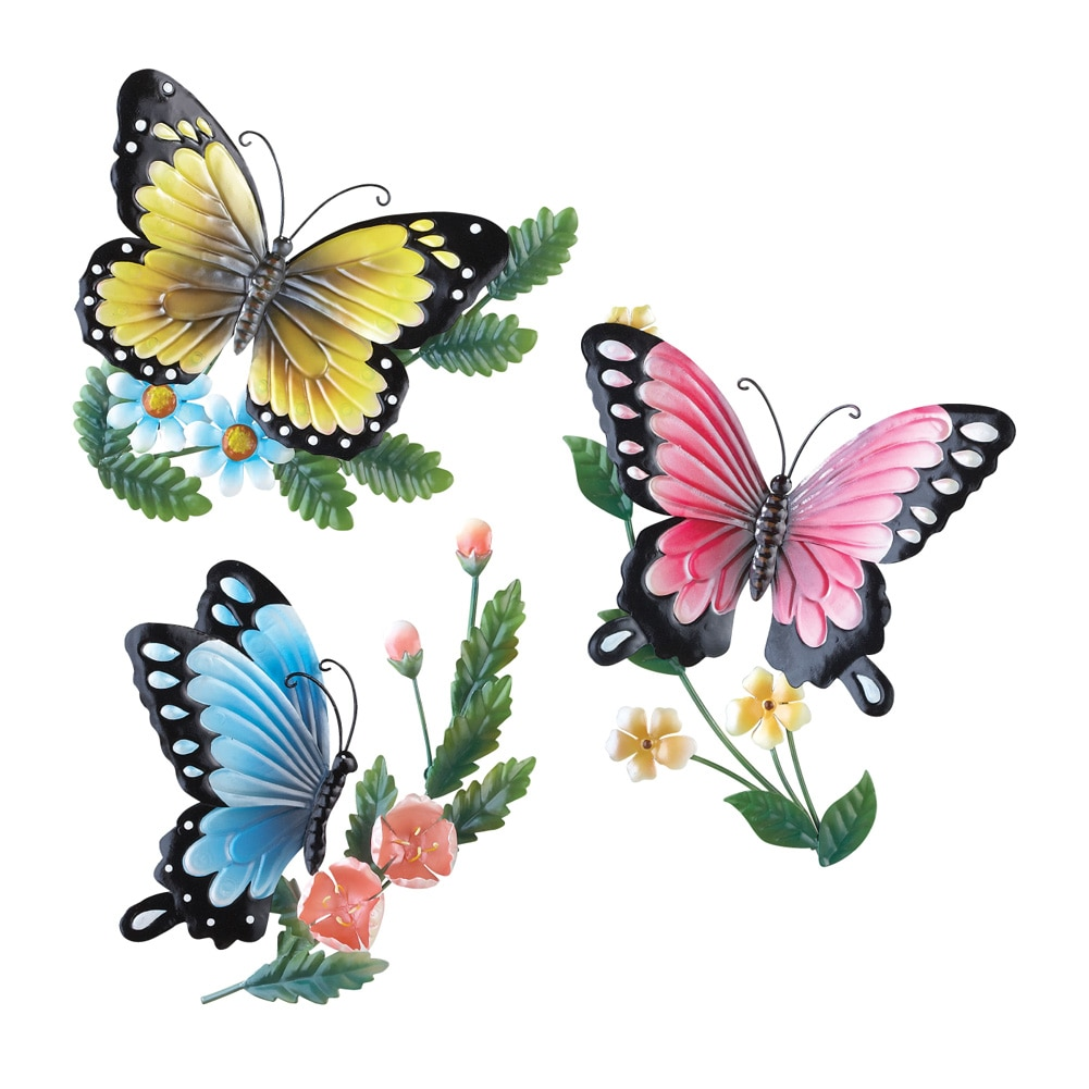 3D Metal Sculpted Butterflies Wall Art, Hand Painted, 3 PC Setu2026