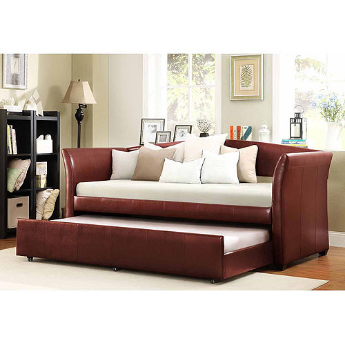 Faux Leather Daybed with Roll-Out Trundle, Wine Red