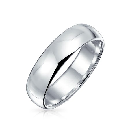 Minimalist Plain Simple 925 Sterling Silver Dome Couples Wedding Band Ring For Women For Men 5MM