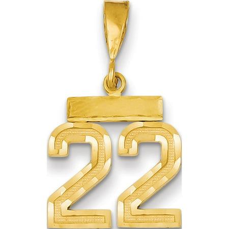 14k Yellow Gold Small Diamond-cut Number 22 Pendant / Charm