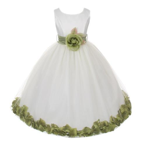 My Best Kids Big Girls Ivory Sage Floral Petals Organza Sash Junior Bridesmaid Dress 8