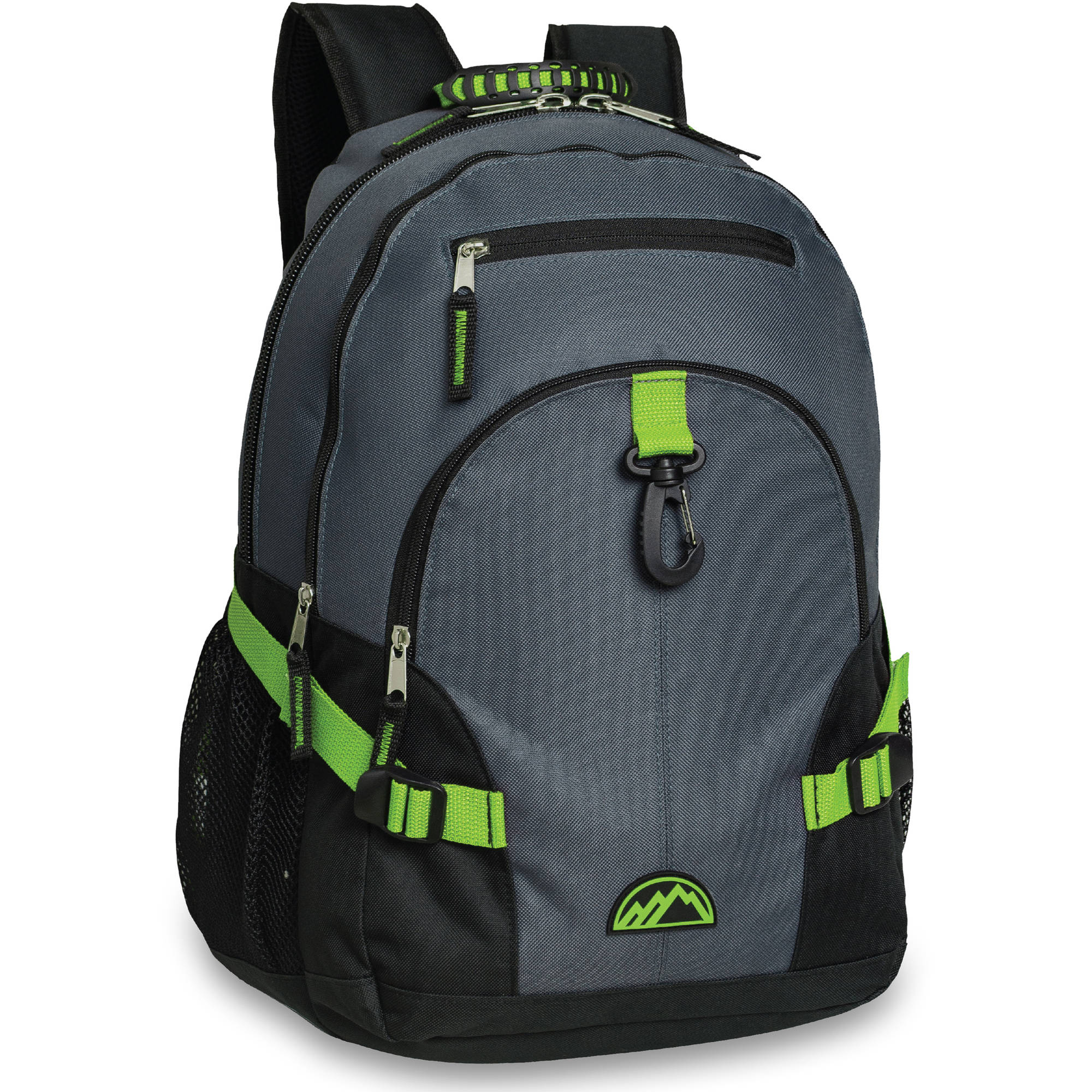 Deluxe 18 Inch Multi Section Backpack With Carabineer Clip & Compression Buckles