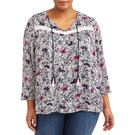 Women's Plus Size Bell Sleeve Peasant Top